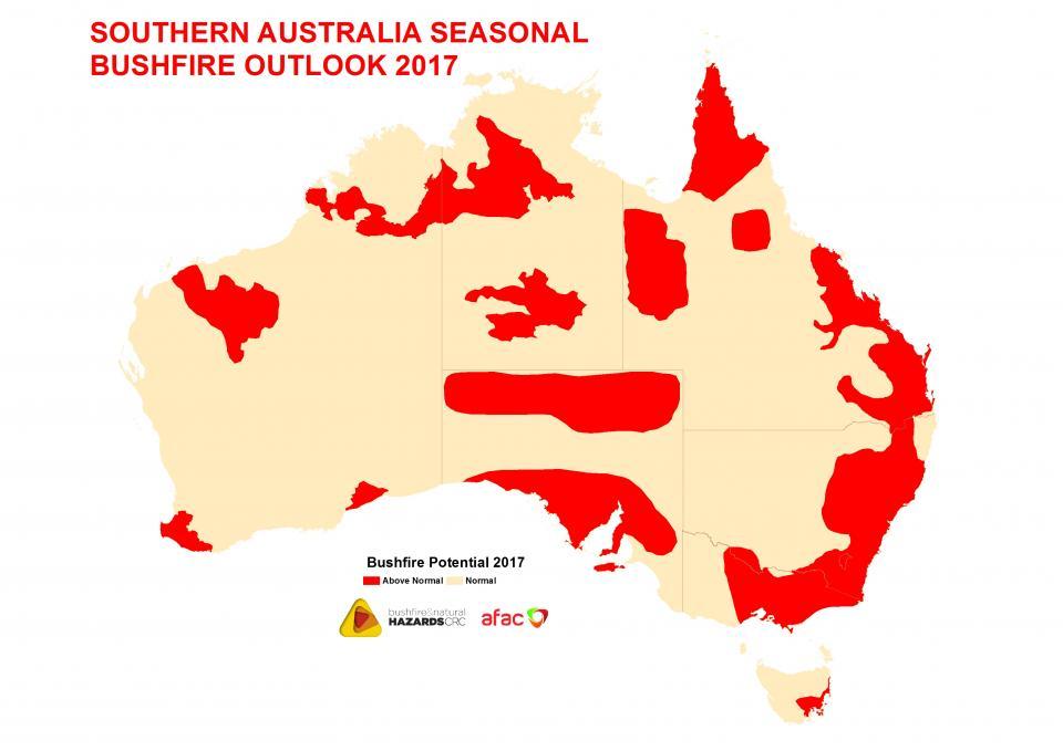 Map Of Australia 2017.Southern Australia Seasonal Bushfire Outlook Bushfire