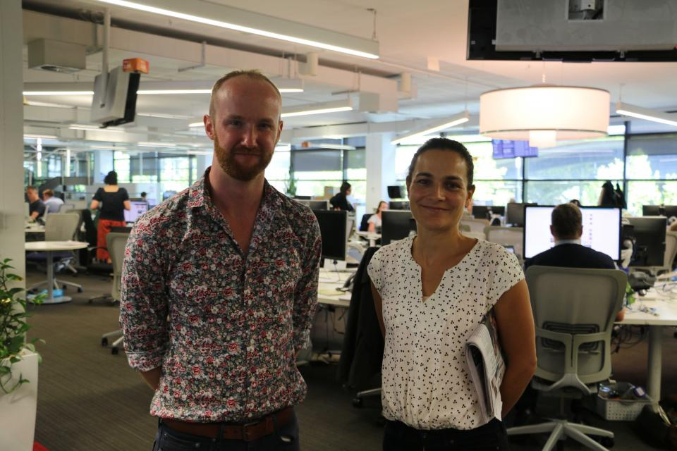 CRC researcher Katharine Haynes (right) with science reporter Liam Mannix at The Age office.