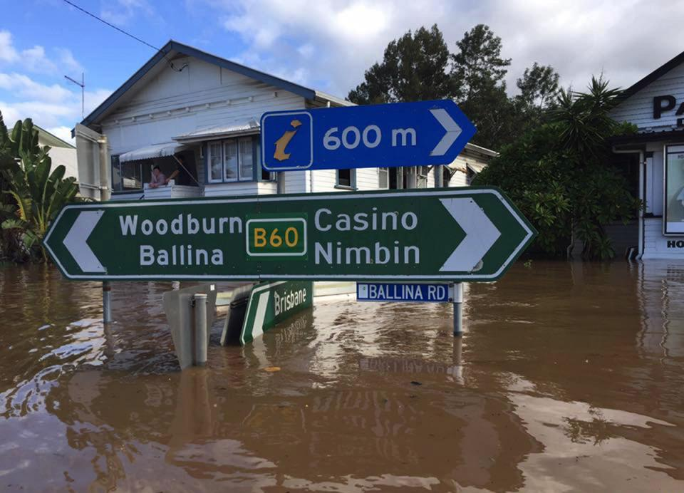 Flooding in Lismore after Cyclone Debbie. Photo: NSW SES