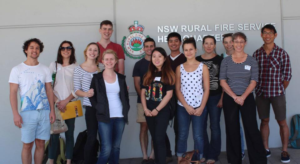 Tina Bell (2nd from right) with her University of Sydney students at RFS HQ.
