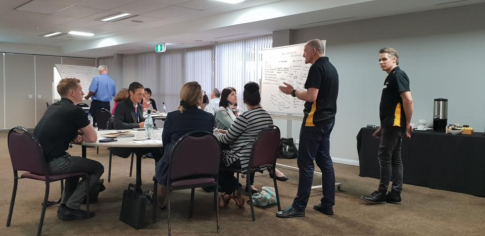 Local government representatives in a Stretch Thinking for Crisis and Emergency Management workshop with researchers.