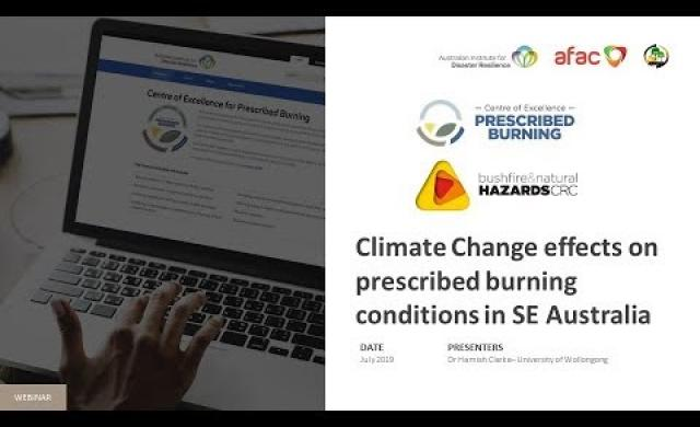 Climate Change effects on prescribed burning conditions in SE Australia