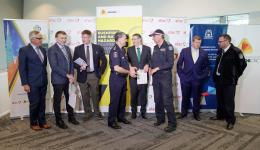Fire Chiefs and Commissioners gathering to launch the Southern Australia Seasonal Bushfire Outlook.
