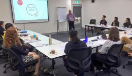 CRC student researchers taking part in a presentation workshop in the lead up to the Forum.