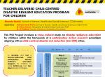 Teacher-delivered child-centred disaster resilient education program for children