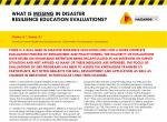 What is missing in disaster resilience education evaluations?